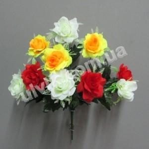 Роза 3-х цветная И 1308 букет искусственный